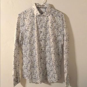 Men's Denim and Flowers Button Up Shirt - Large